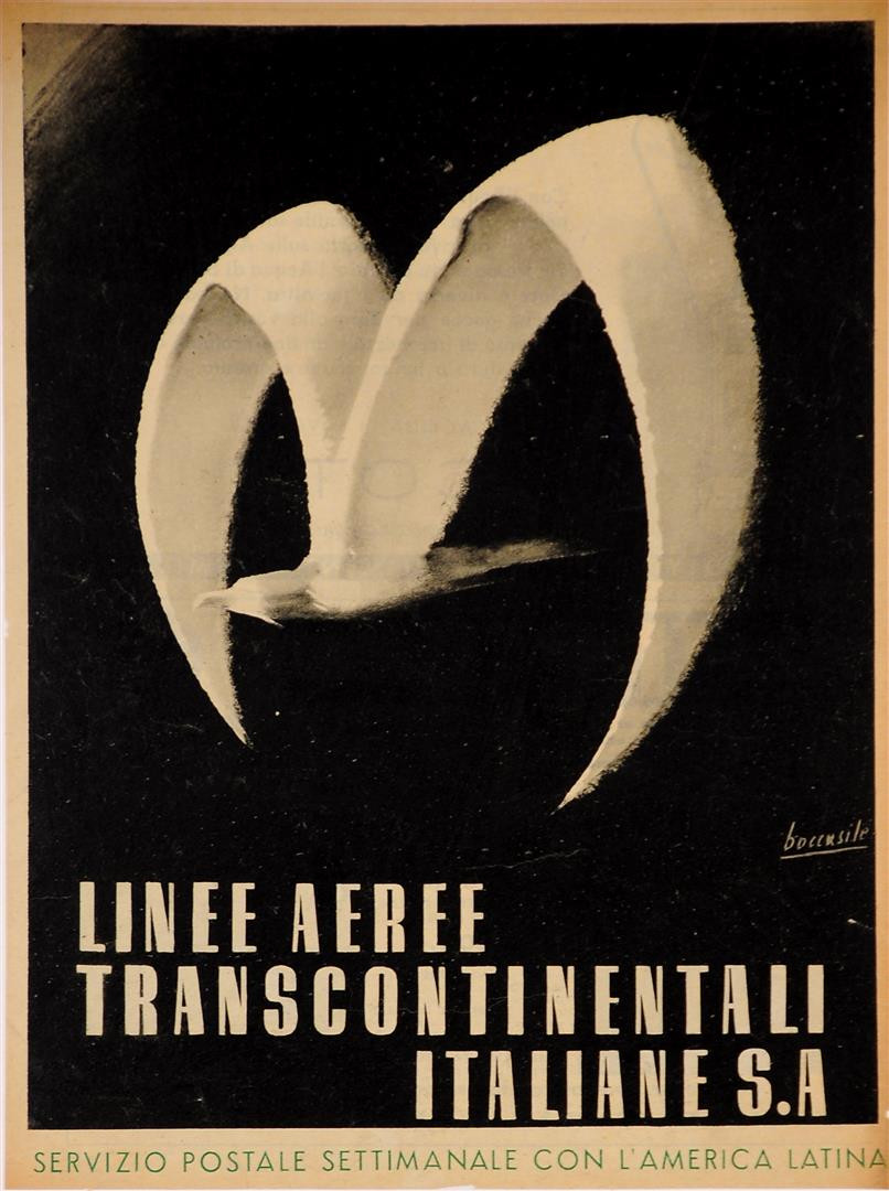 "Original Vintage Italian Travel Poster for ""Linee Transcontinentali Italiane S.A"" by Boccasile 1940's"