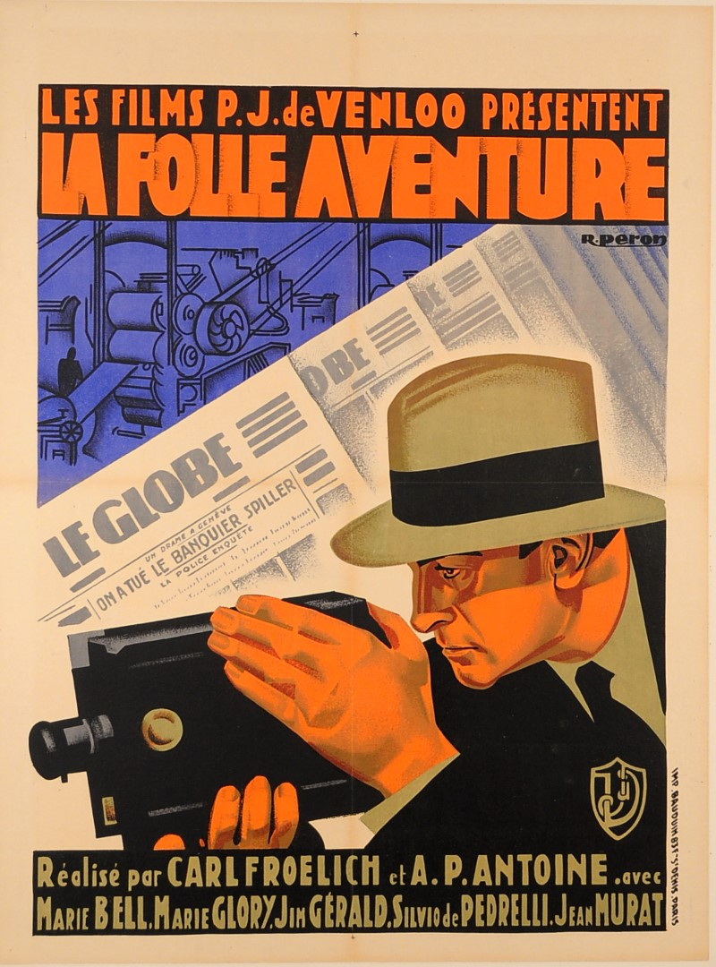"""French & German Movie Advertising Poster """"La Folle Aventure"""""""