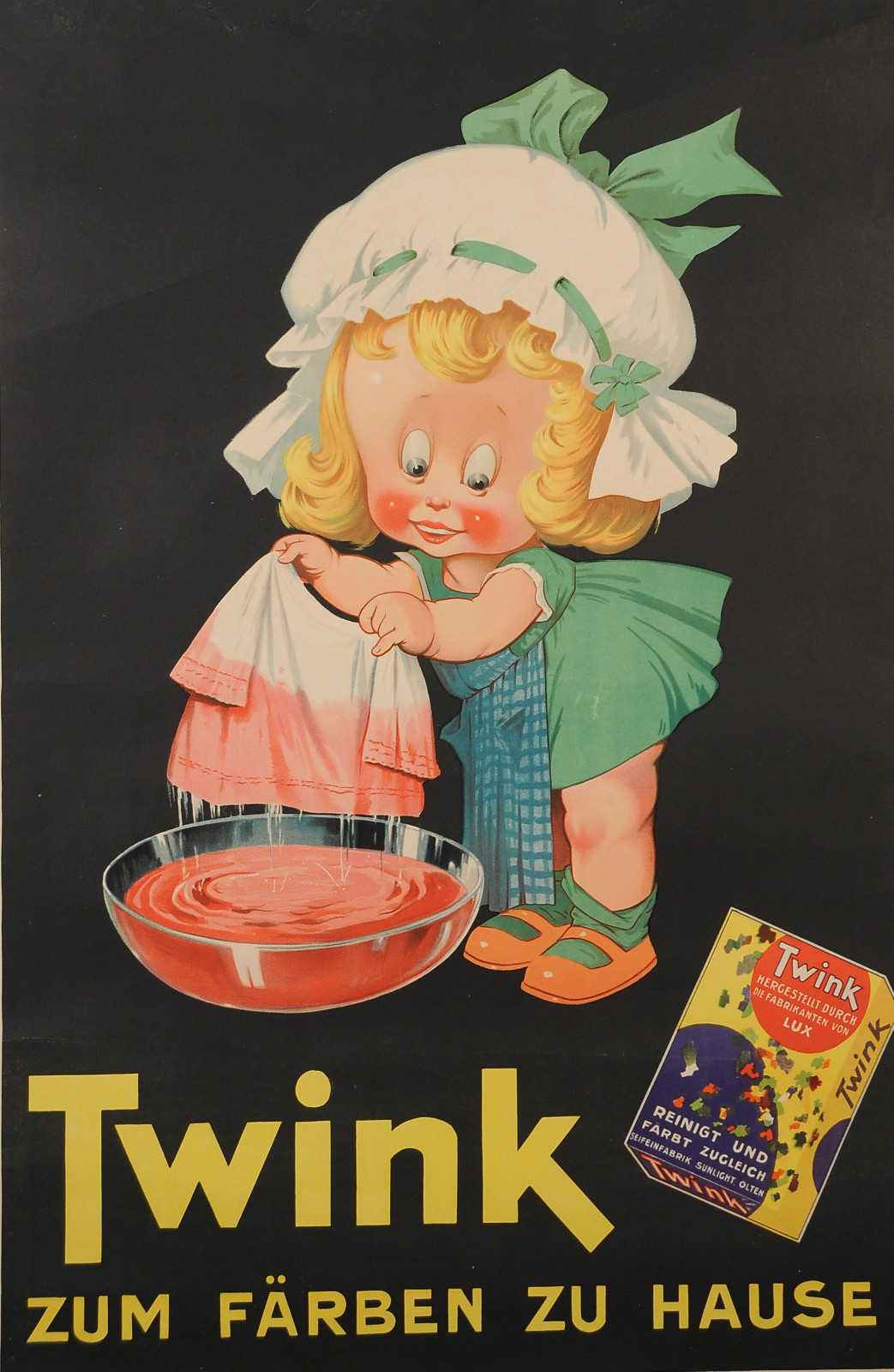 "Original Vintage German Advertising Poster for Fabric Dye ""TWINK"" ca. 1950"