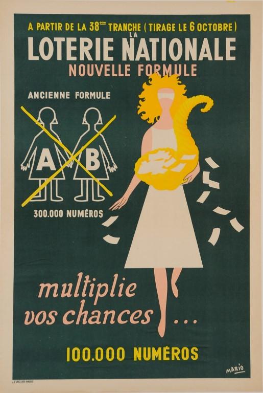 "Original Vintage Loterie Nationale Poster ""Multiplie vos Chances"" ca. 1940"