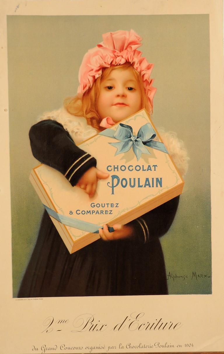"""Original Vintage Chocolat Poulain Poster using the Slogan """"Goutez et Comparez"""""""