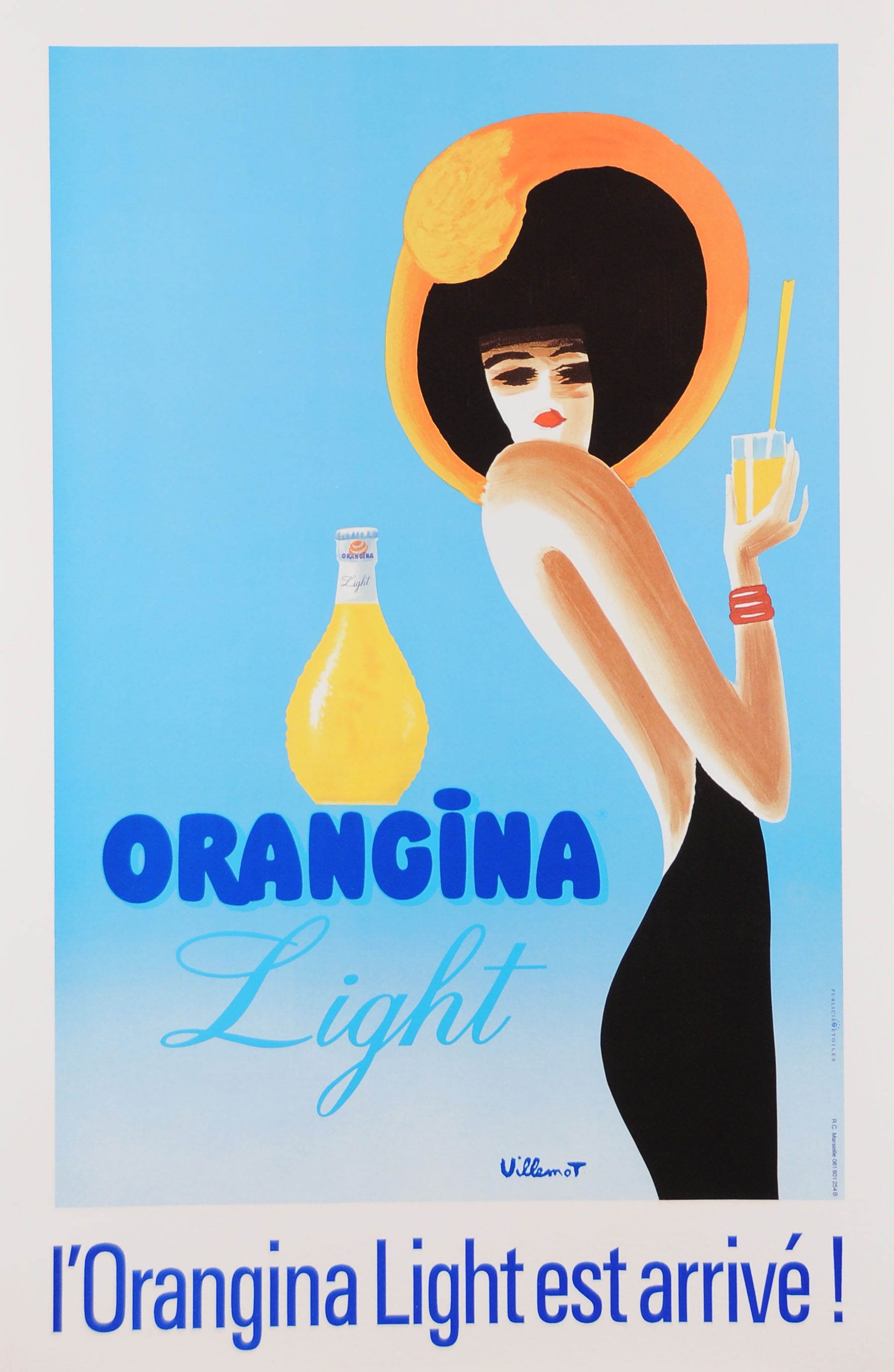 "Vintage French Orange  Drink Poster ""Orangina"" by Villemot Later Printing"