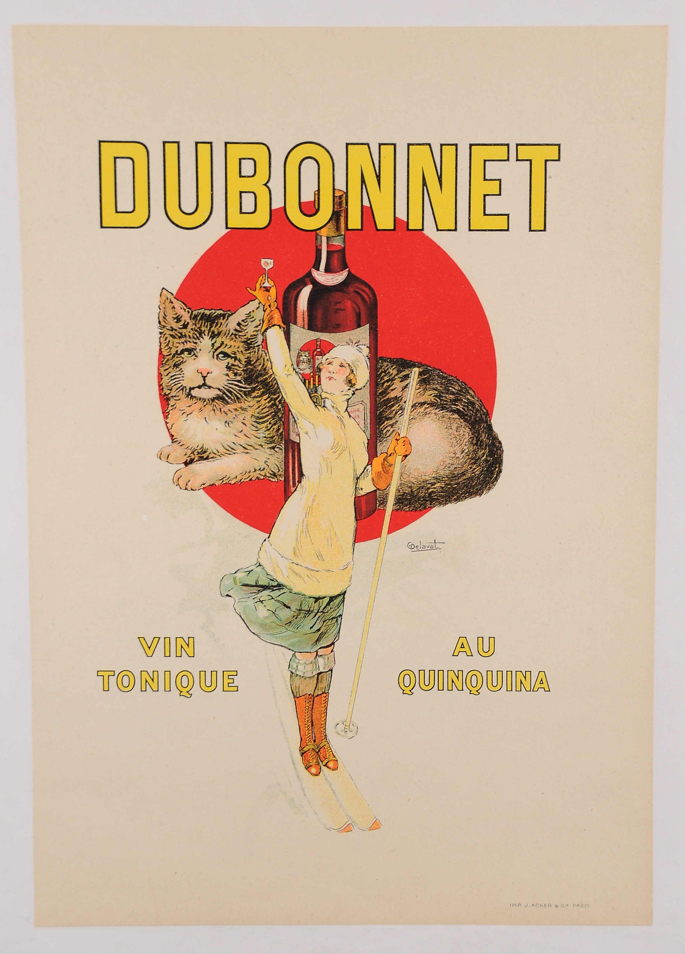 Original Vintage French Alcohol Drink Advertising Poster Dubonnet