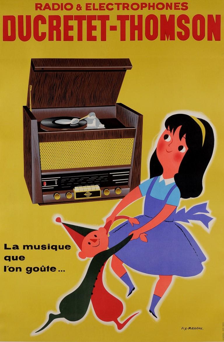 "Original Vintage French Poster ""Ducretet Thompson"" Radio by Fix Masseau ca. 1960"