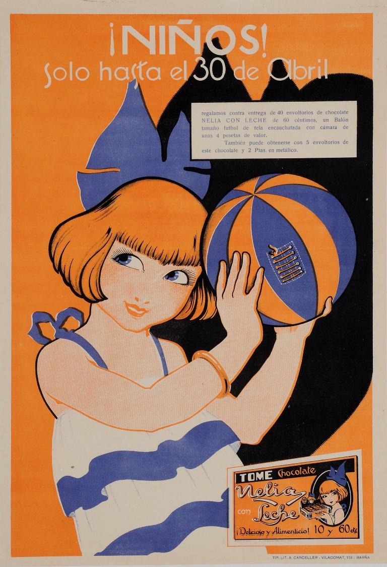 """Original Vintage Spanish Poster """"Ninos!"""" Chocolate 1950's"""