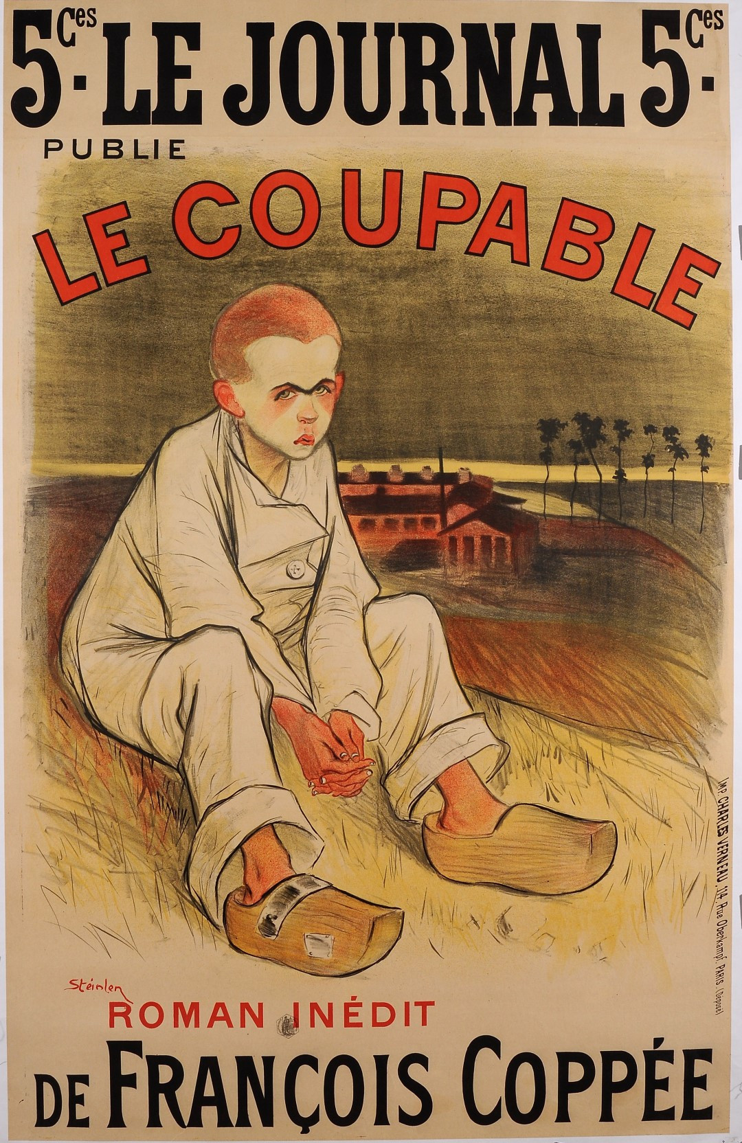 """Original Vintage French Poster for Coppee's """"Le Coupable"""" by Steinlen 1896"""