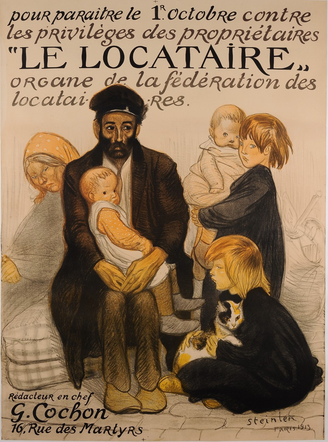 "Original Vintage French Poster for ""Le Locataire"" (The Tenant) by Steinlen 1913"