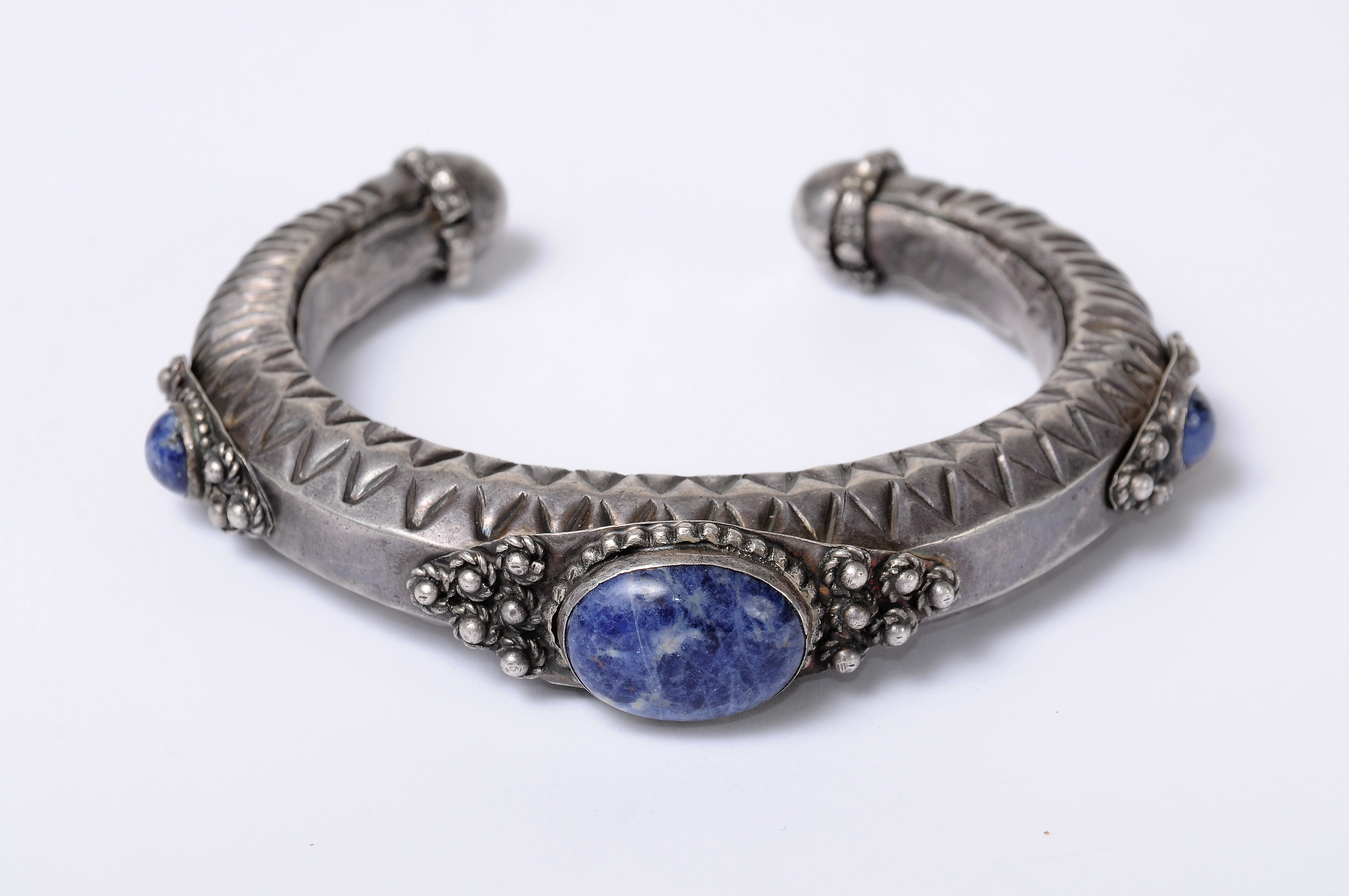 Ethnic Oriental Cuff Israel 925 Silver Bracelet set with Agate Stone