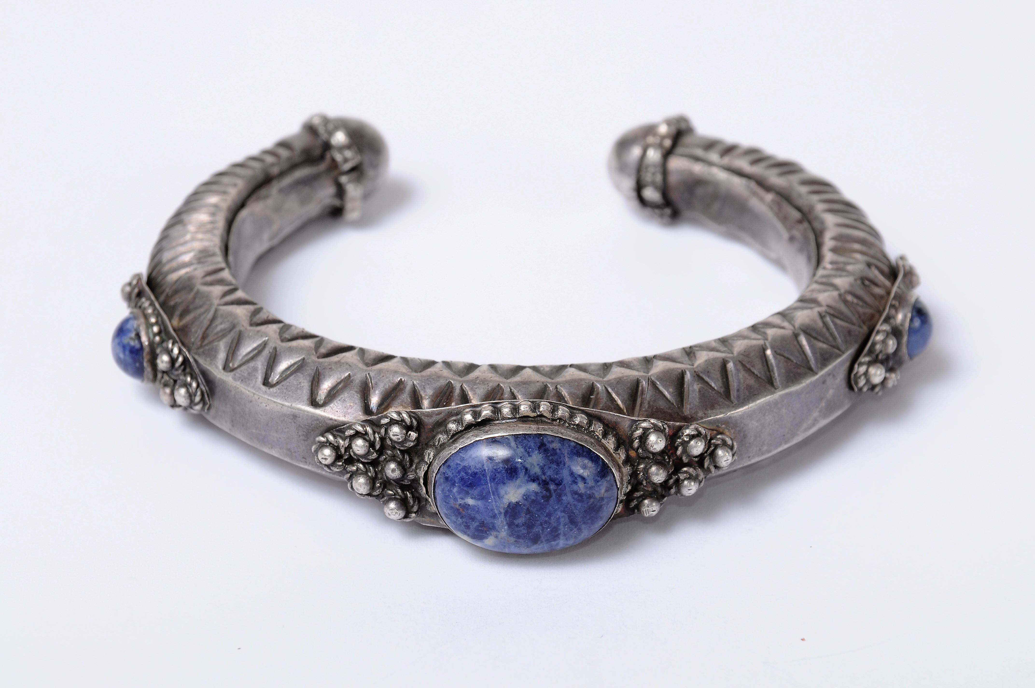 Ethnic Oriental Cuff Israel 925 Silver Bracelet set with Agate Stone