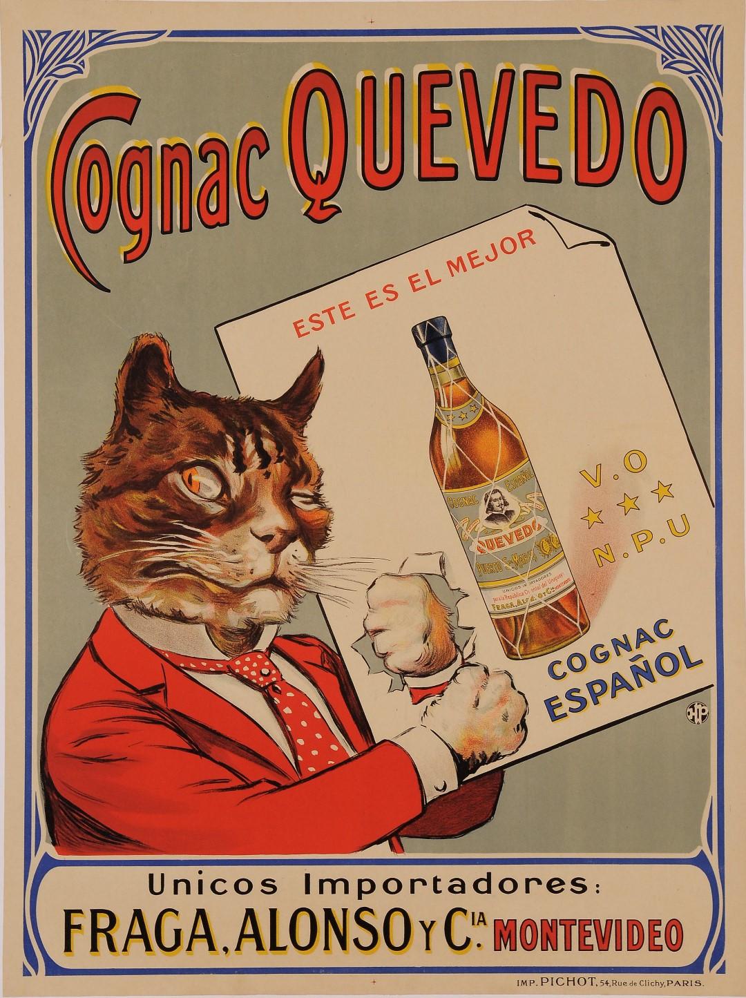 """Original Vintage Spanish Poster Advertising """"Cognac Quevedo"""" Cat 1920's"""