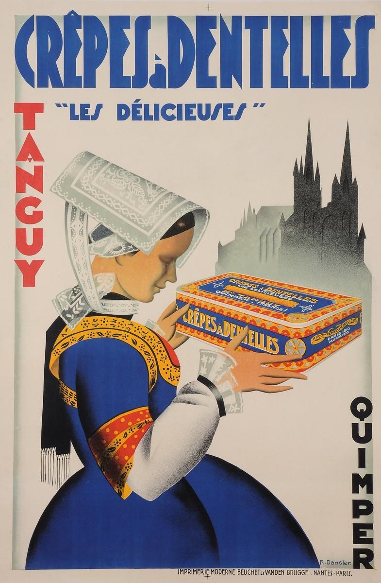 """Original Vintage French Poster for """"Crepes a Denteslles"""" by R. Dansler 1930's"""