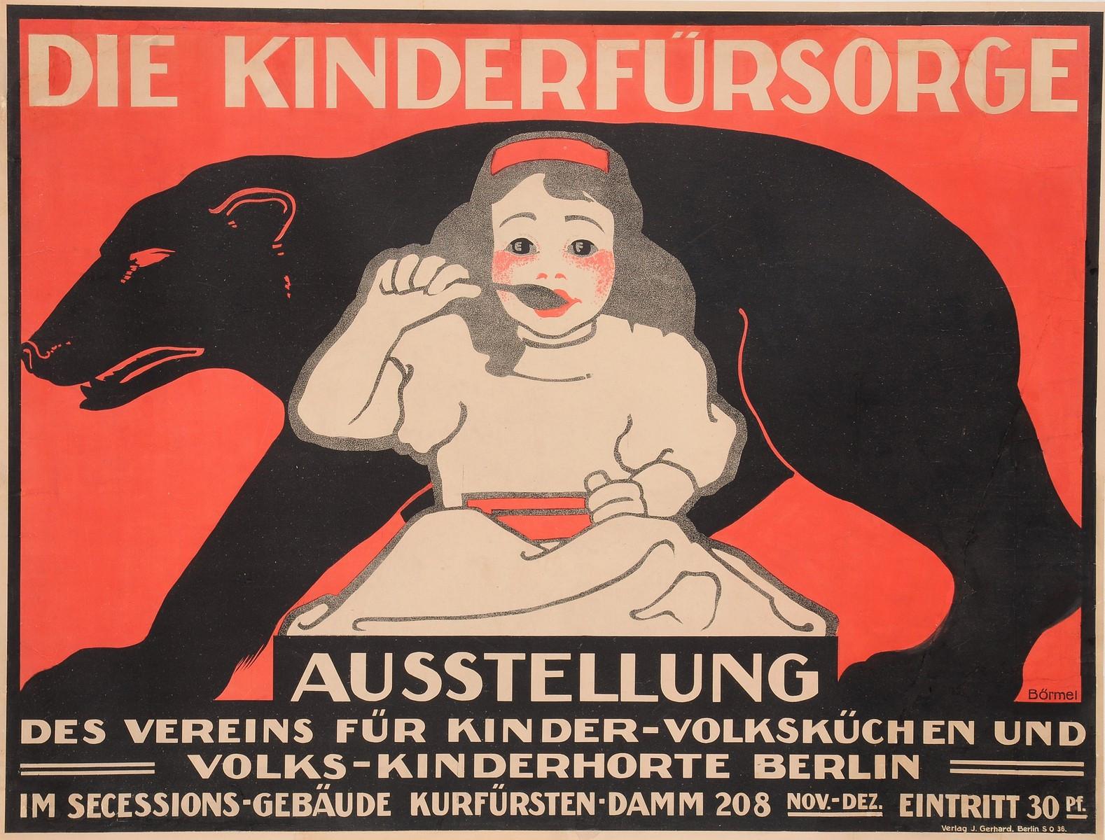 """Original Vintage German Poster for """"Die Kinderfürsorge"""" by Börmel Berlin ca.1900"""