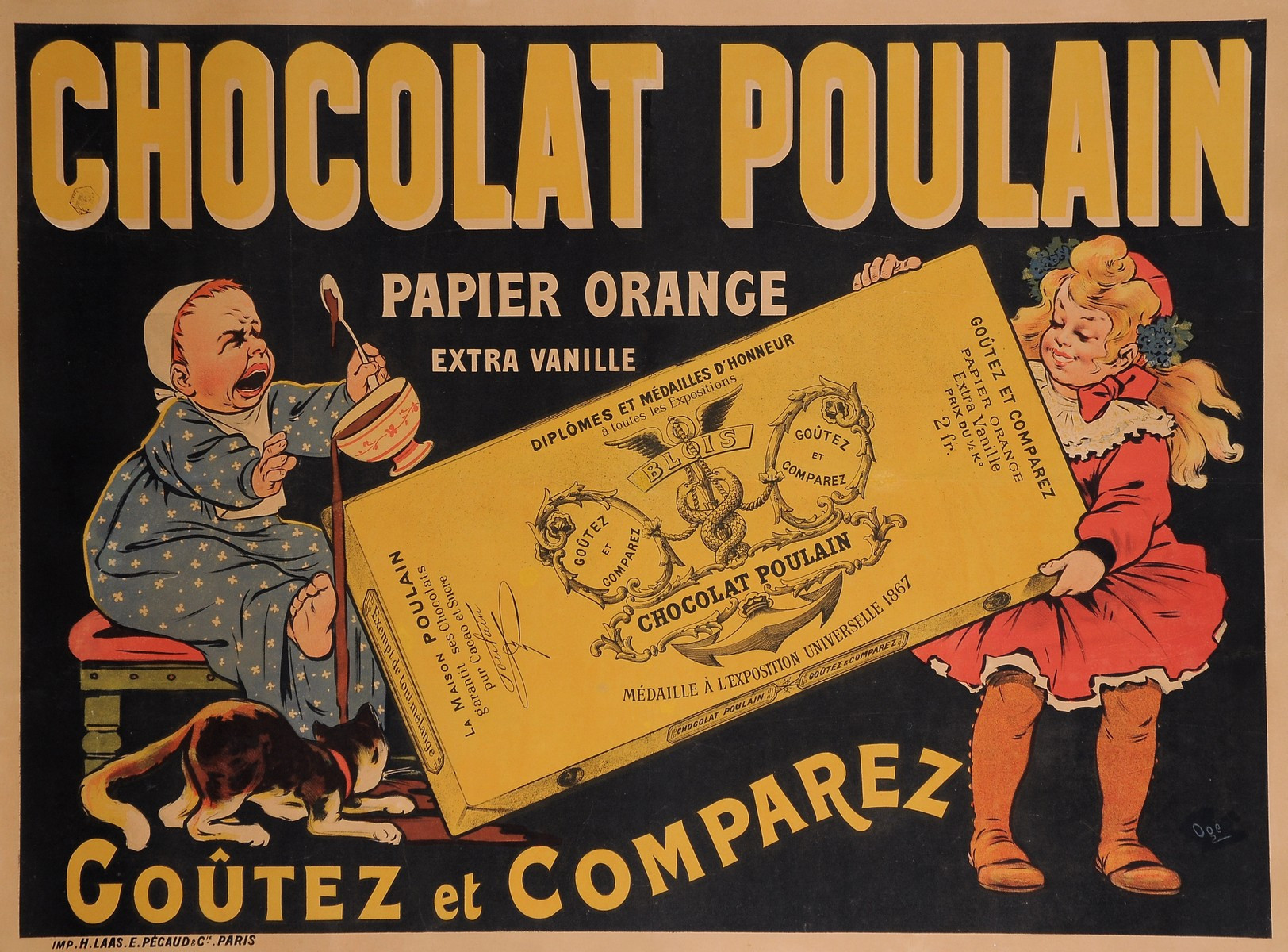 "Original Vintage French Food Poster for ""Chocolat Poulain"" RARE by Oge"
