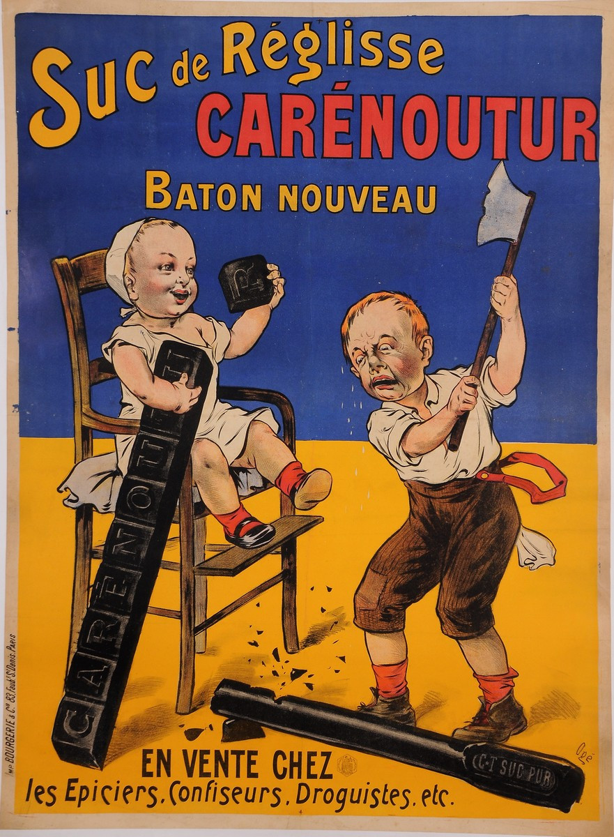 "Original Vintage French Children Poster for ""Carenoutur"" Suc de Reglisse by Oge"