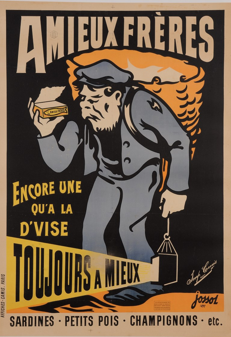 """Original Vintage French Poster for """"Amieux Freres"""" Fish Sardines by Jossol 1897"""