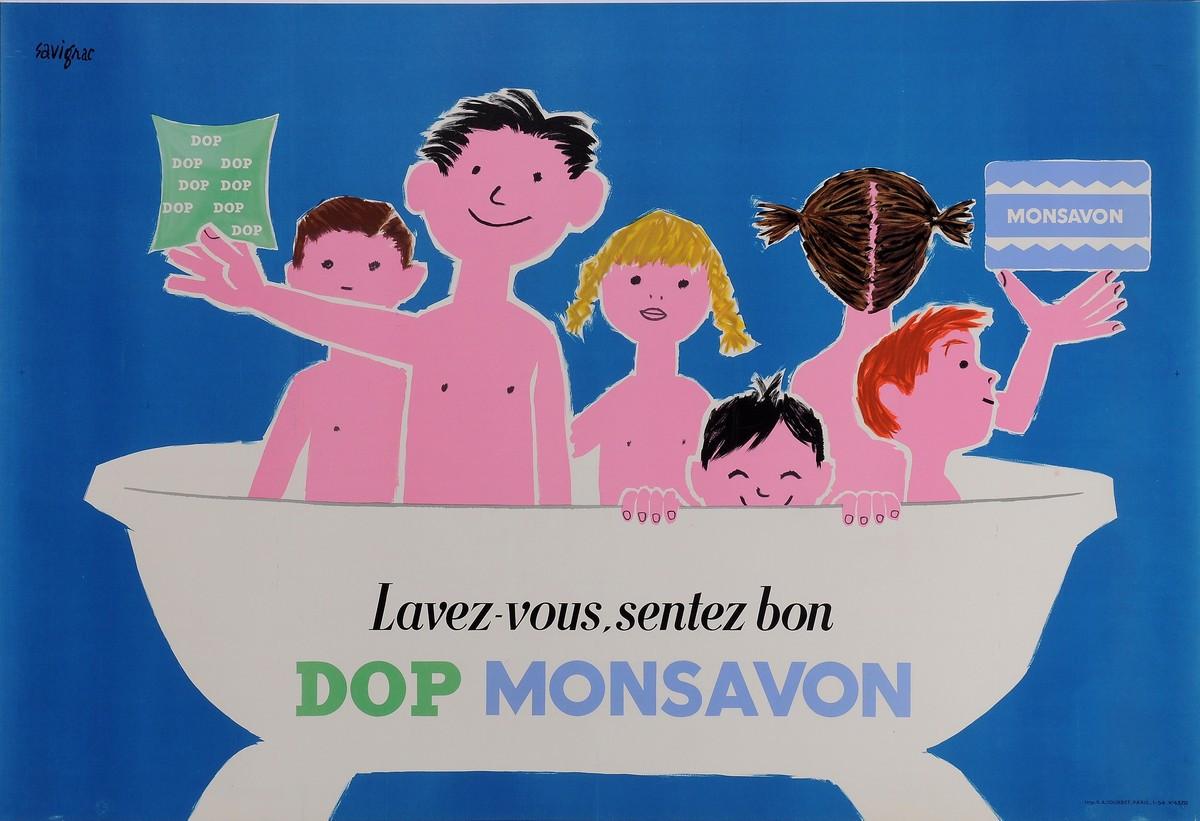 "Original Vintage French Poster Advertising ""Dop Monsavon"" by Savignac 1954"