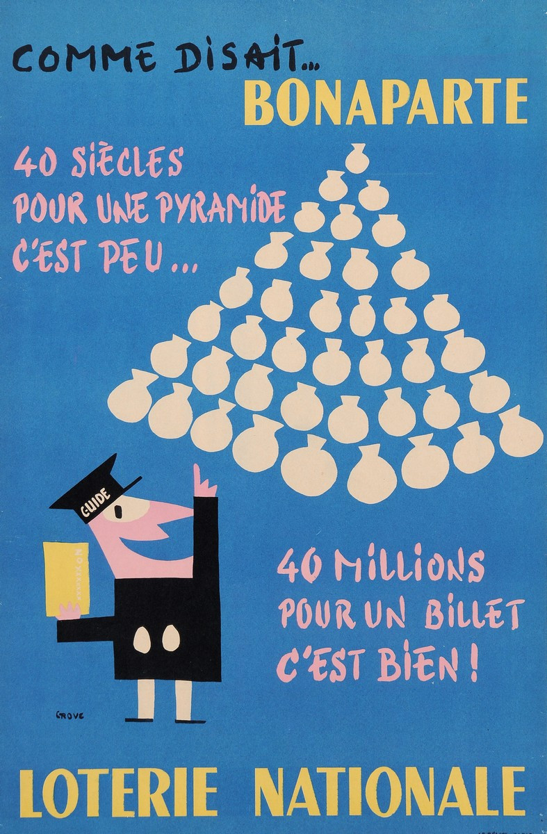 Original Vintage Loterie Nationale Poster by Grove ca. 1960