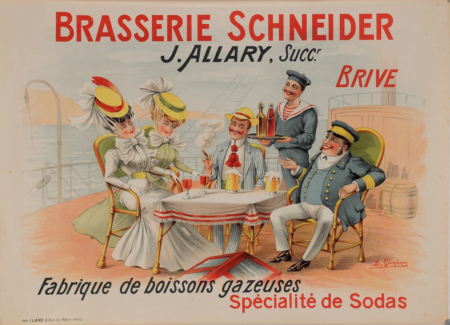"""Original Vintage French Poster for """"Brasserie Schneider"""" by A. Quendray 1920's"""
