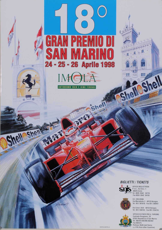 """Original Vintage Italian Race Poster for """"Gran Premio di San Marino No. 18"""" 1998"""