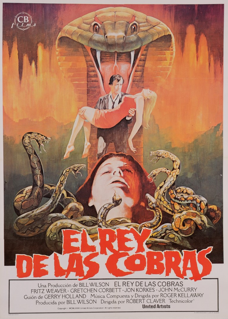 "Original Vintage Spanish Movie Poster for ""EL REY DE LAS COBRAS (Jaws of Satan)"" PELTZER 1981"