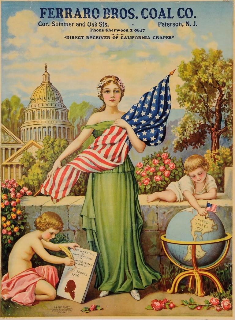 "Original Vintage American Poster for ""Ferraro Bros. Coal Co."" George Washington' 1932"