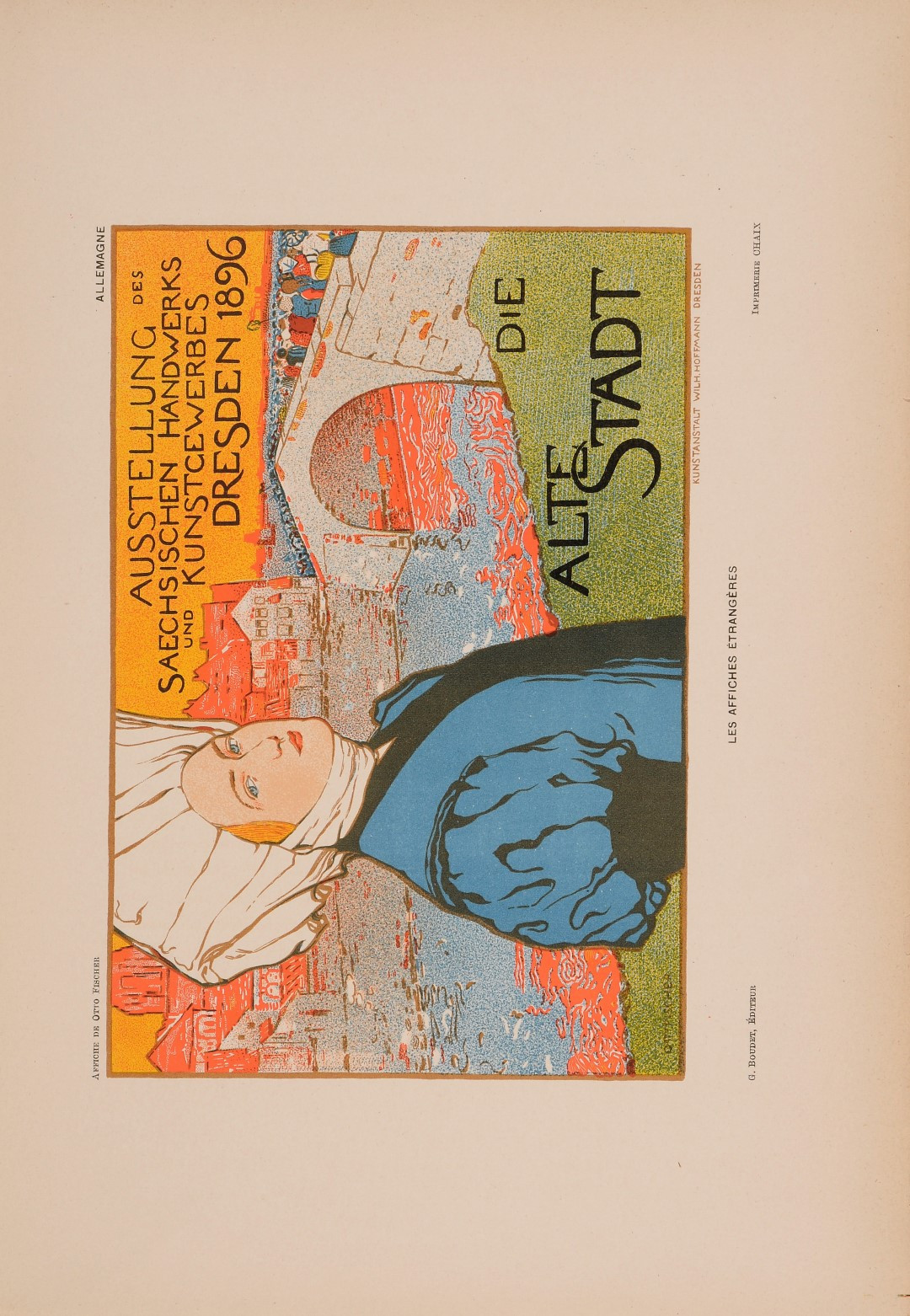 """Les Affiches Etrangeres """"Alte Stadt"""" Stone Lithograph by Otto Fischer 1896"""