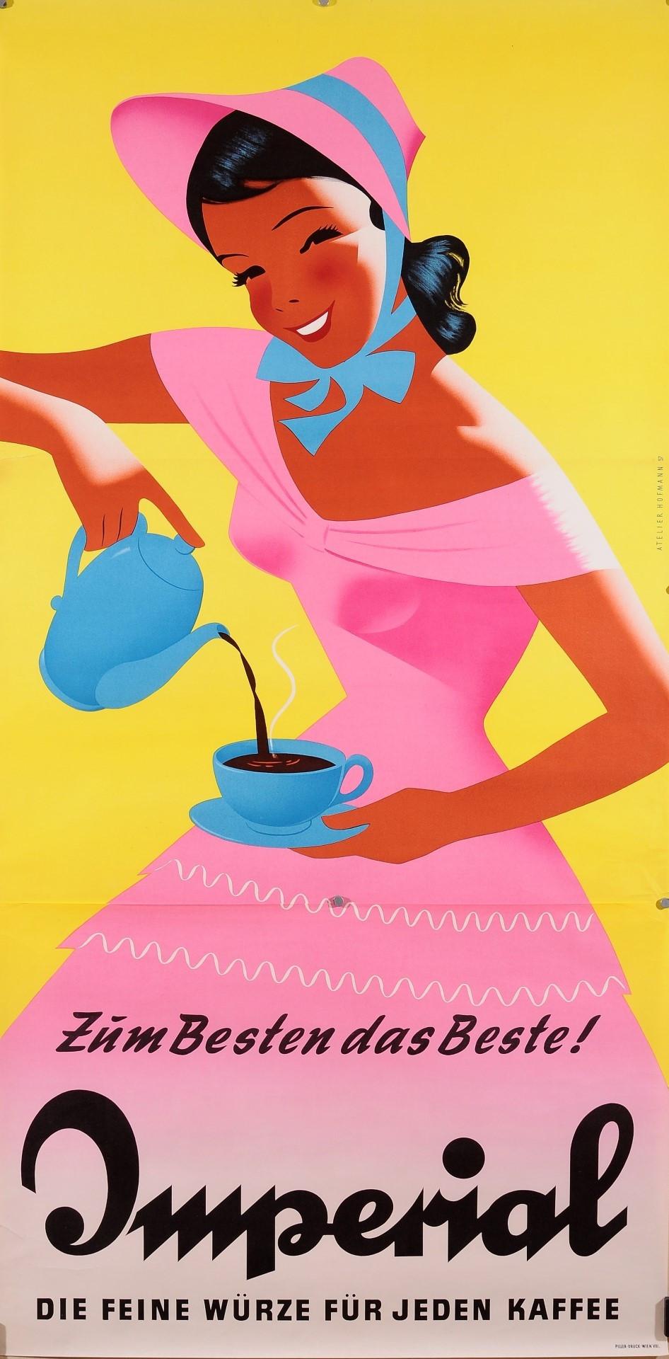 Original German Vintage Poster On Paper Advertising Coffee. 2 Parts