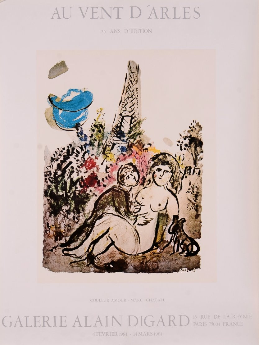 "A Poster by Chagall For ""Au Vent D'Arles"" at Galerie Lain Degard"
