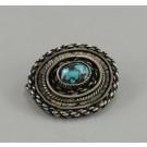 Artisan Ethnic 925 Sterling Silver Eilat Stone Palestine Handmade Brooch Pin