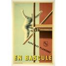 """Original Vintage French Poster """"EN BASCULE"""" Awareness by Villemot 1940's"""