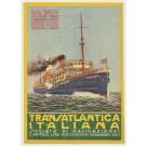 """Original Vintage Small Italian Traveling Poster """"Transatlantica Italiana"""" ca. 1920"""