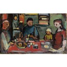 """Aharon Giladi Very Early Painting """"The Family"""" Oil on Canvas 80x130 cm Signed Very rare!"""