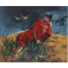 """Yosl Bergner Signed and Numbered Lithograph """"Birds"""" Series 1970's Rare"""
