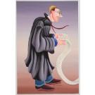 "Original Signed Acrylic On Canvas Board ""The Defender""- Yuval Mahler Israeli Art"