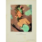 Original Restaurant Menu with Lithograph by JEAN GABRIEL DOMERGUE