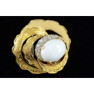 Fashion Jewelery Gold-tone Enamel Faux Pearl and White Rhinestones Mad Men Style