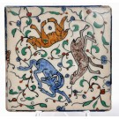 Antique Armenian Ceramic Tile Drawing Animals Palestine 1940's 20X20 cm