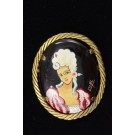 Vintage Antique Rococo Style Gold-tone Turtel Shell Brooch Pin Young Lady by Cal