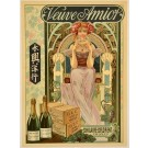 Original French Advertising Poster Veuve Amiot Mousseux Mucha-Style Art Nouveau