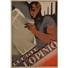 "Original Art Deco Poster Advertising ""Llegiu L'Opinió"" Newspaper by Alvma ca. 1930"