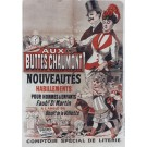 "Original Vintage French Poster ""Buttes Chaumont"" by Cheret  SOLD AS IS"