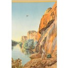 Original Vintage Orientalist Chromolithogrpah Poster Jordan River Palestine 1926