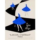 "Original Vintage Italian Fashion Poster ""Lanvin Castillo Paris"" by Gruau 1970's"