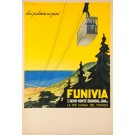 Original Vintage Italian Travel Poster Advertising a Ski resort Funiva