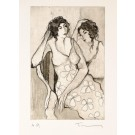 Original Black and White Etching of 2 Ladies Signed and Numbered A.P.