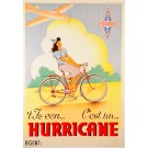 "Original Vintage Belgian Poster Advertising Bicycles ""Hurricane"" ca. 1950"