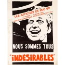 "Original Vintage French Student Revolution Poster ""iNDESIRABLES"" 1968"