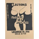 "Original Vintage French Student Revolution Poster ""Election Faculty Des Sciences"" 1968"