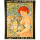 """Original Vintage French Small Wine Poster for """"Robert Behrend & Cie"""""""