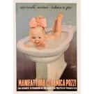 "Original Vintage Italian Poster ""Manifattura Ceramica Pozzi"" Baby by Boccasile"